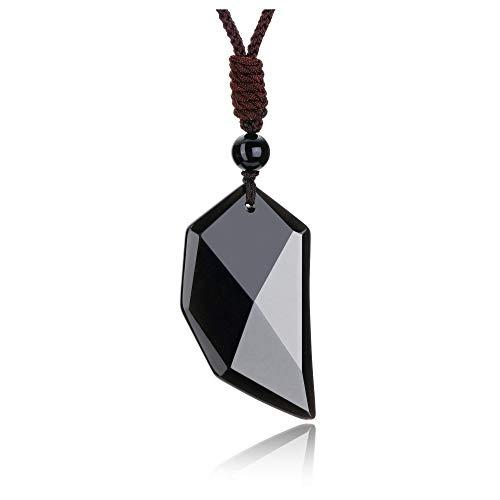 JSDDE Men Natural Black Obsidian Crystal Necklace Faceted Healing Crystals...