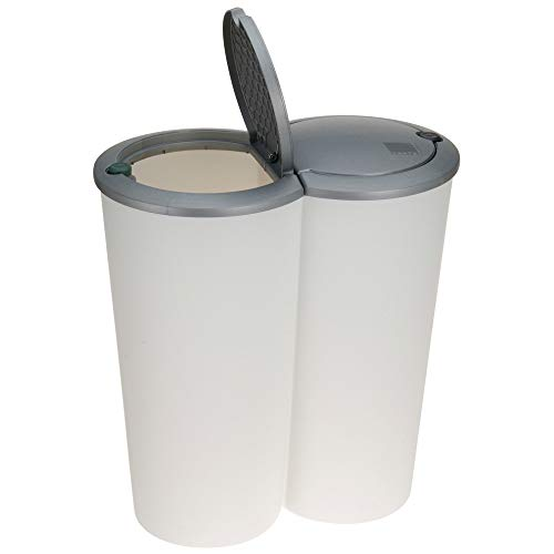 2x 25Lt Round Edge Plastic 2 Compartment Waste Recycle Bin Dustbin & Pop Up Lid