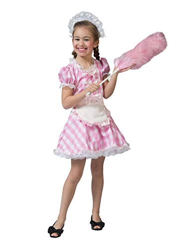 Halloweenia - Mädchen Kinder Kostüm rosa weiß Kariertes Kleid im Hausmädchen Dirndl Look, pink White Checkered Dress, perfekt für Das Oktoberfest Karneval und Fasching, 140, Rosa