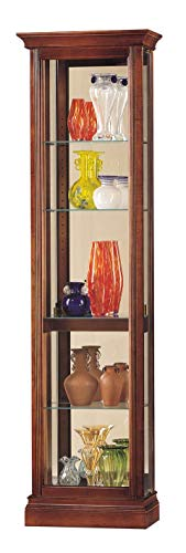 Howard Miller Gregory Curio Cabinet 680-245 – Windsor Cherry Finish, Brass Hinges & Pulls,...