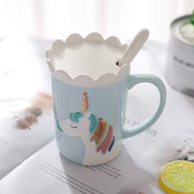 Copa De Vino Taza De Café Taza3D Relief Unicorn Ceramic Coffee Mug With Crown Lid Spoon Cute Cartoon Milk Coffee Water Cup Wi