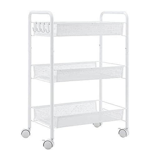 3-tier mesh draad rollend utility wagen multifunctionele metalen organisatie met afsluitbare wielen voor thuiskantiek keuken badkamer slaapkamer,Wit