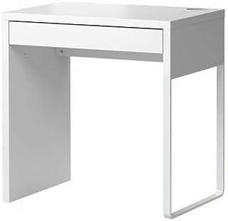 طاولة مكتب وكمبيوتر أبيض مع درج غير قابل للانزلاق وفتحة تنظيم الاسلاك العرض 73 سم العمق 50 سم الإرتفاع 75 سم
