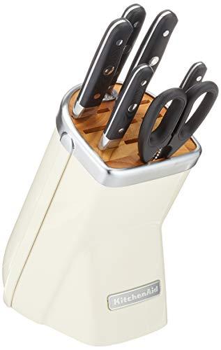 KitchenAid Messerblock, 7-teilig, Gusseisen, 30 x 25 x 20 cm, Crème, Creme, Einheiten