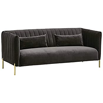 Amazon Brand – Rivet Frederick Mid-Century Channel Tufted Velvet Sofa Couch 77.5 W Grey