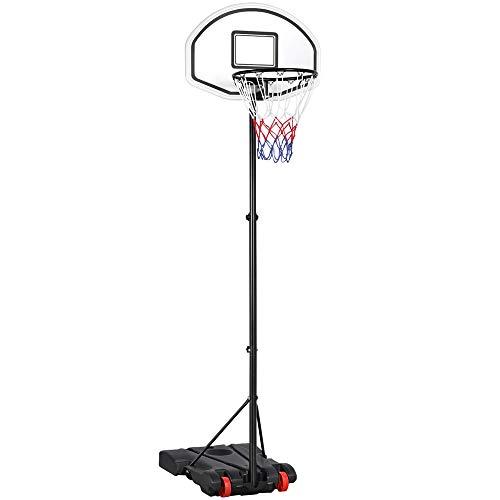 Yaheetech Canasta de Baloncesto Plegable Altura Ajustable 159-214 cm Tablero de Baloncesto con Soporte Juego de Deporte Exterior Portátil Negro