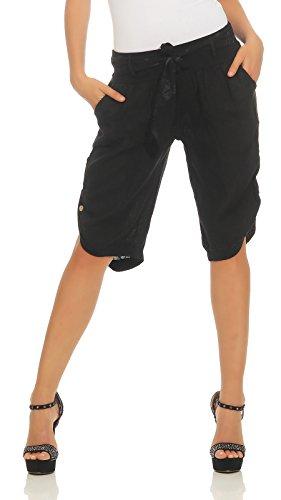 Mississhop 281 Damen Capri 100% Leinen Bermuda lockere Kurze Hose Freizeithose Shorts mit Gürtel und Knöpfen Schwarz M