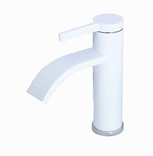 FeiFei156 Grifo Grifo para Lavabo de baño Grifo para Lavabo frío y Caliente Lavabo para Inodoro Grifo de Cobre con Mango único Cuerpo de Cobre (Color : White)