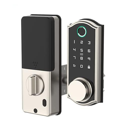 Tuya Smart Lock Keyless Entry Deadbolt Door Lock, Digital Electronic Bluetooth Deadbolt Door Lock with Keypad, Smart Locks Front Door Works with APP,Chrome