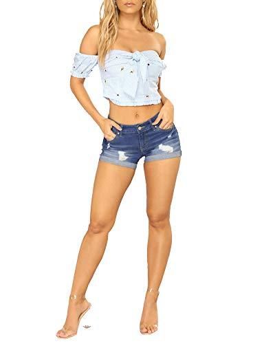 ZhuikunA Pantaloncini Jeans Donna, Pantaloni Corti, a Vita Bassa, Bermuda Shorts Blu Marino L