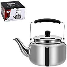 Alpine Cuisine Stainless Steel Stovetop Tea kettle, Gas Electric Induction SS, 1.3 Liter Mirror-finish