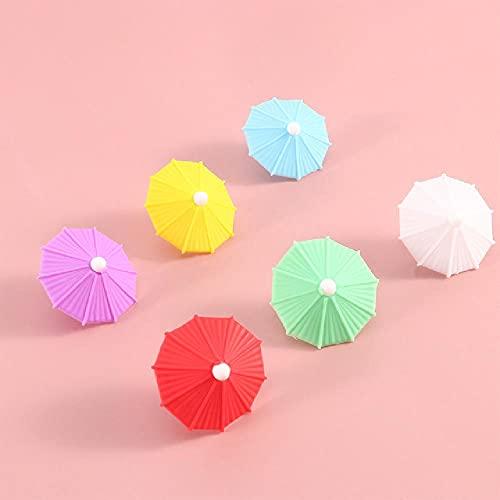 6 uds, Paraguas de silicona, marcador de copa de vino, fiesta, bebida, compañero, identificación, taza, identificador, etiqueta, etiqueta de la taza