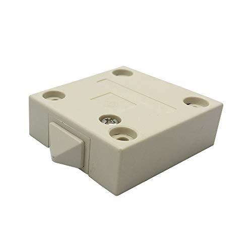 FUJIE Truhenschalter 2A 250V Schrankschalter Schnappschalter Türkontaktschalter Einschalter Push zum Brechen Elektrischer Mortice Switch mit Abdeckkasten Weiß