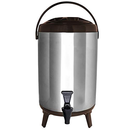 Vollum Edelstahl Isolierter Getränkespender - Isolierter Thermo Heiß- und Kaltgetränkespender - 10 Liter Getränkespender mit Zapfhahn für heißen Tee & Kaffee, kalte Milch, Wasser, Saft & mehr, Braun