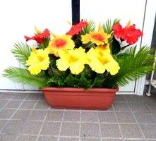 きつつき ハイビスカスプランター 造花 デイスプレイ 装飾 UDD触媒加工
