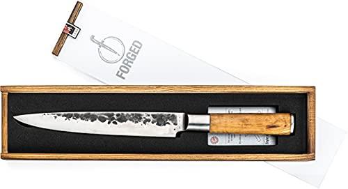 Forged Olive - Cuchillo jamonero (20 cm, hecho a mano, en caja de madera)