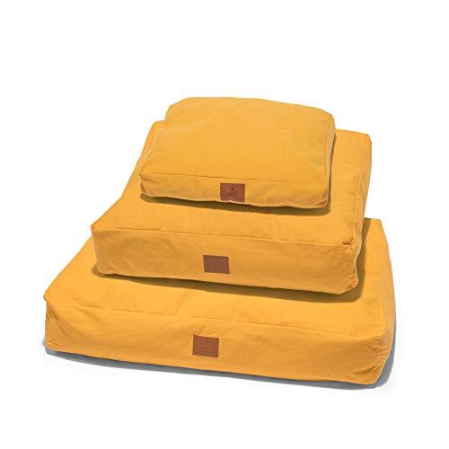 Lupo's Nest Kussen Hond Bed - Diep Gevuld, Pluche, Anti-allergie Hollow-Fibre Vullen - Machine wasbaar en zeer duurzaam huisdier bed, Large, Mosterd Geel