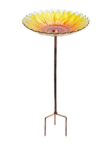 MUMTOP Vogeltränke aus Glas, für den Garten, für den Außenbereich, Vogeltränke mit Metallpflock Sonnenblume