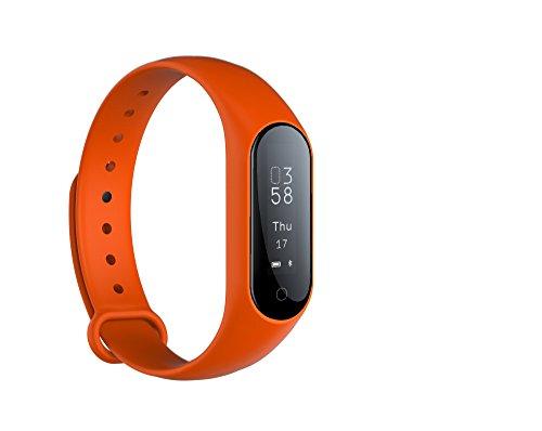 Fitness Activity Tracker Monitor de ritmo cardíaco en tiempo real, pulsera inteligente Fitness Pulsera Podómetro con Step Tracker / Contador de calorías / Sleep Tracker para iOS y Android (ORANG)