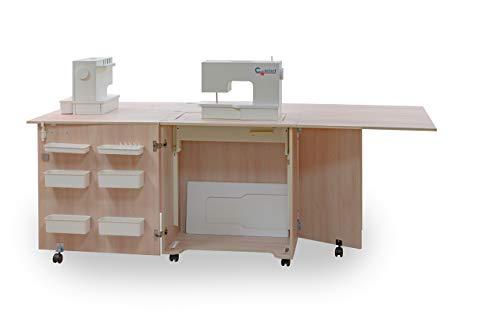 Comfort 1Q+ | Mueble para máquina de coser | Armario de costura | (Lakeland Acacia Light, M (Air-Lifter 10kg))