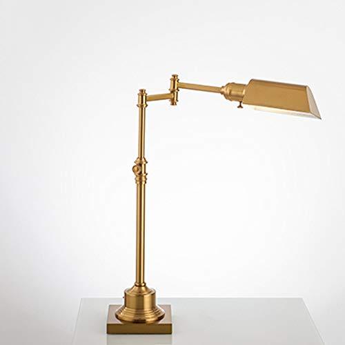 LCLZ Iluminación Lnterior Lámpara De Mesa Americana Dorada Estudio De Estudio Protección Ocular Led Copper Nordic Retro Work Lámpara De Mesa con Atenuación Creativa