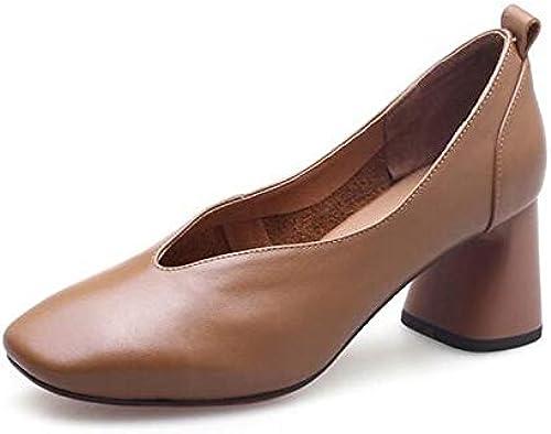 ZHZNVX zapatos de damas Nappa Leather Summer Comfort Heels Heterojoypic Heel negro Camel
