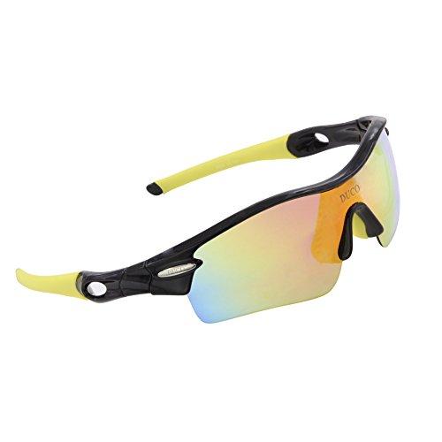 DUCO 0026 Gafas de Sol Polarizadas con 5 Llentes Intercambiables Protección Ultravioleta UV400 Deportivas Ciclismo Correr Running Color Verde Fluorescente