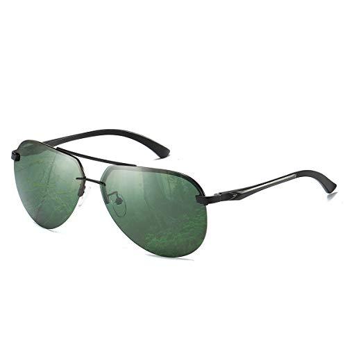 CHEREEKI Gafas de Sol,  Retro Gafas de Sol Polarizadas Aviador Para Hombre y Para Mujer Protección UV400 Gafas de Sol con Diseño de Moda (Verde oscuro)