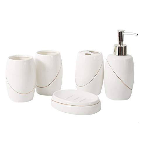 Lurrose 5pcs Accesorios de Baño Loción Dispensador de Cepillo de Dientes Titular Vaso y Jabonera Blanco Cerámica Diseño Moderno Juego de Baño