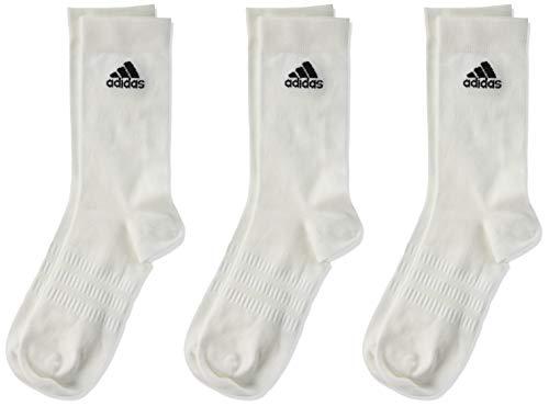 adidas Light Crew 3PP Socks, White/White/White, M