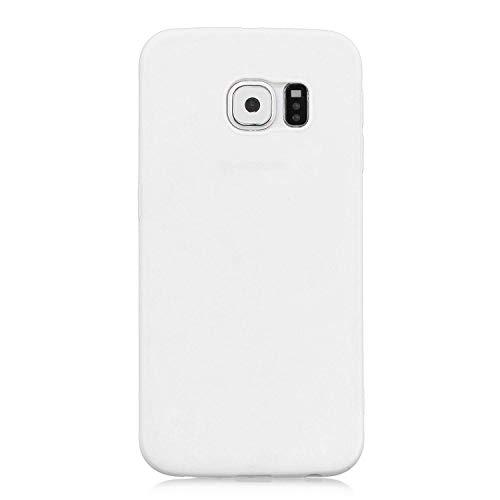 cuzz Funda para Samsung Galaxy S6 Edge+{Protector de Pantalla de Vidrio Templado} Carcasa Silicona Suave Gel Rasguño y Resistente Teléfono Móvil Cover-Blanco