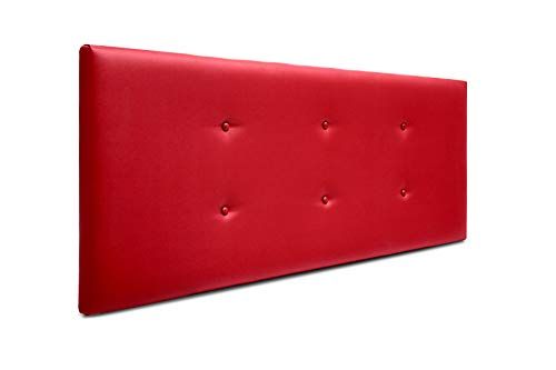 SUENOSZZZ-ESPECIALISTAS DEL DESCANSO Cabecero de Cama Bruselas tapizado en Polipiel para Camas de 90 (100 x 57 cm) Polipiel Rojo