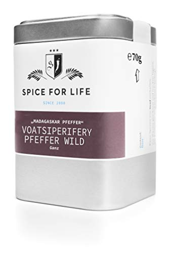 Spice for Life Wilder Voatsiperifery Pfeffer- seltener Edel Gourmet Pfefferkörner aus dem Urwald Madagaskar - Deluxe Ganz Grob - Erdig Zitronig Blumig und mit sehr starker Schärfe - Gewürz für das Besondere Gericht 70g