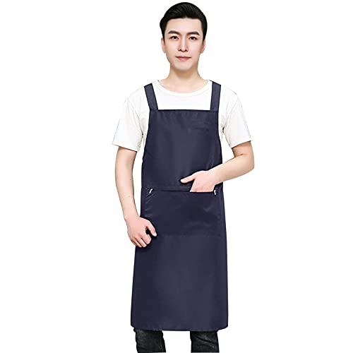 Delantal de cocina delantal de jardineros delantal de trabajo delantal de cuero extendido impermeable resistente al aceite con bolsillos para lavar platos, café, monos de laboratorio-azul_L-91x76cm