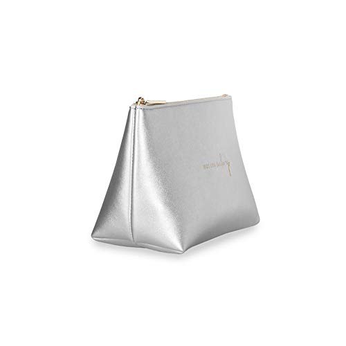 Katie Loxton Mia Travel Pouch Kiss and Make-Up Metallic Silver Women's Faux Leather Make-Up Case -  B535