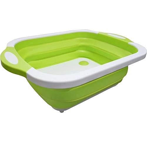HeBiShiZeLiJianCaiXiaoShouYouXianGongSi Multifunktionales abnehmbaren Klappbrett Trichter Korb, sink wash Schneid Gemüse und Früchte mit doppeltem Verwendungszweck (Color : Green)
