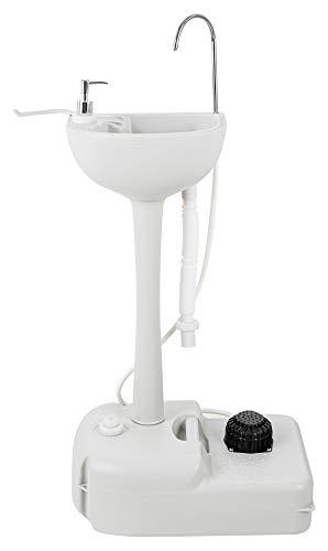 Stagecaptain PSW-17 Quixie Portables Festival Camping-Waschbecken - Mechanische Fußpumpe - Wassertank mit 17 Liter - Spülbecken Inklusive Spender für Flüssigseife und Handtuchhalter - hellgrau
