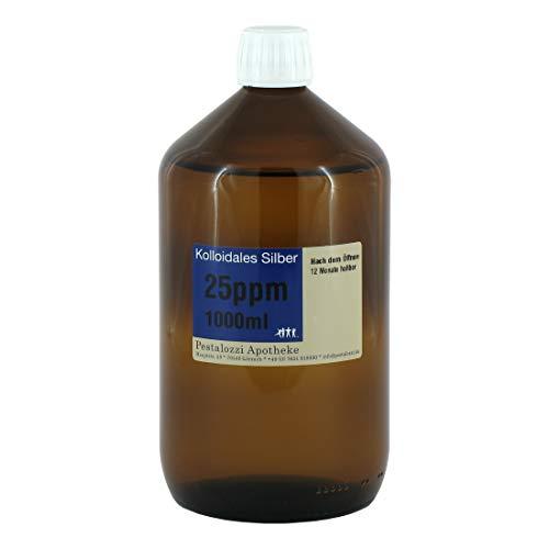 Kolloidales Silber 25ppm (1000 ml) aus Apotheken-Herstellung - 100% natürliches, kolloidales Silberwasser, ohne chemische Zusatzstoffe, Inhalt: 1000 ml