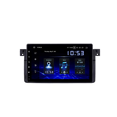 JALAL 9'Android 10.0 Single DIN Car Radio Sat Nav para BMW 5 E39 M5 1996 a 2003 E53 2000 a 2007 Bluetooth Car Stereo Carplay inalámbrico Incorporado GPS WiFi USB SWC