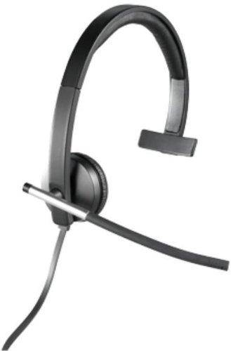 Logitech H650e Kopfhörer mit Mikrofon, Mono-Headset, Rauschunterdrückung, Lautstärkeregelung und Stummschaltung am Kabel, LED-Anzeige, USB-Anschluss, PC/Mac/Laptop - Schwarz/Silber