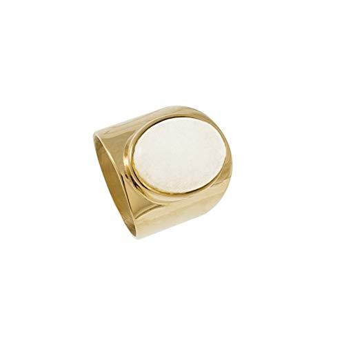 Zag Bijoux - Anillo de piedra XXL ágata blanca (dorado)