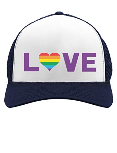 Gay Love LGBT Hat Rainbow Heart Gay & Lesbian Pride Trucker Hat Mesh Cap One Size Navy/White