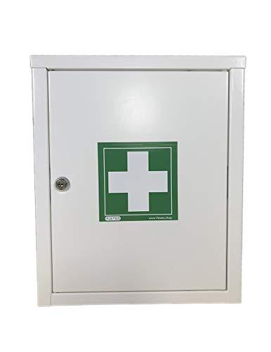FLEXEO Erste-Hilfe-Schrank, abschließbar, in weiß, aus Metall, zur Wandmontage