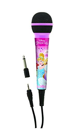 Disney Princesas - Micrófono dínámico con Conector 3,5 mm y Adaptador de 6,3 mm, Ideal para Karaoke (Lexibook MIC100DP)