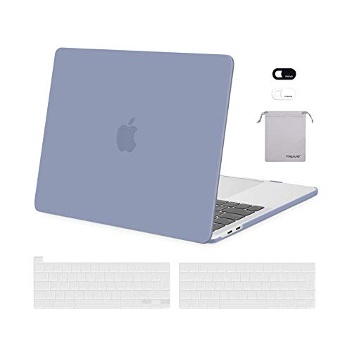MOSISO FundaDura Compatible con MacBook Pro 13 A2338 M1 A2289 A2251 A2159 A1989 A1706 A1708,Plástico Carcasa Rígida&Cubierta de Teclado&Protector de Pantalla&Bolsa de Accesorios,Gris Lavanda
