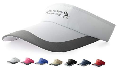 HYSENM HYSENM Visor Baumwolle Einheitsgröße Unisex Cap mit Klettverschluss Einstellbar Anti-UV für Reisen Radsport Tinnesspielen Kappe, Weiß