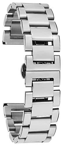 ZJSXIA 18 mm 20 mm 22 mm Correa de Acero Inoxidable Correa de la Pulsera de muñeca con Muesca de Metal con Barras de Resorte para reemplazar la Correa de los Hombres y Las Mujeres Correas de Reloj
