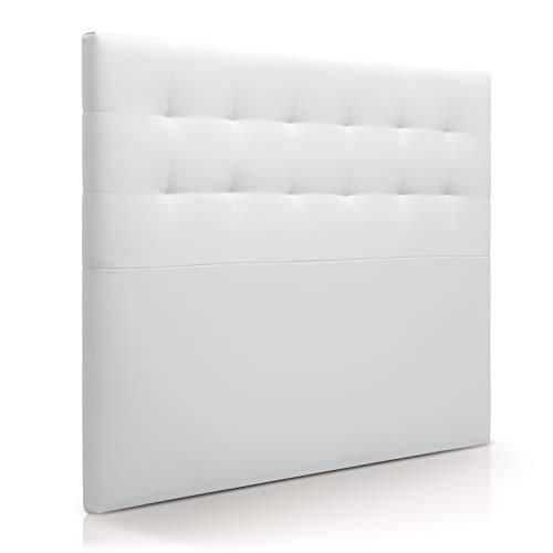 SUENOSZZZ-ESPECIALISTAS DEL DESCANSO Cabecero de Cama Canadá tapizado en Polipiel para Camas de 90 (100 x 120 cm) Polipiel Blanco