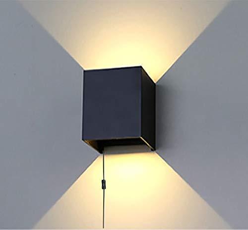 Moderna lámpara de pared de estilo minimalista con ángulo ajustable, luz blanca cálida, 10 W, LED, lámpara de pared con 4,5 m con botón de encendido certificado CE