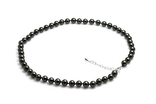 Schmuckwilli Damen Muschelkernperlen Perlenkette aus echter Muschel dunkelgrau 45cm 8mm mk8mm084-45